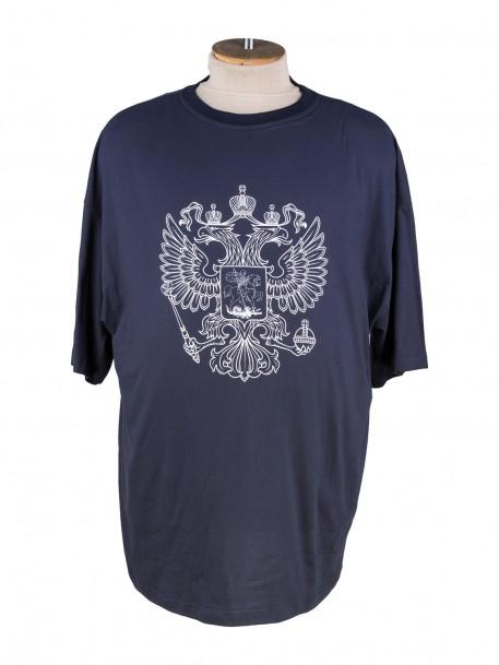 2045e39e813ee Купить Темно- синяя футболка большого размера с принтом герб россии ...