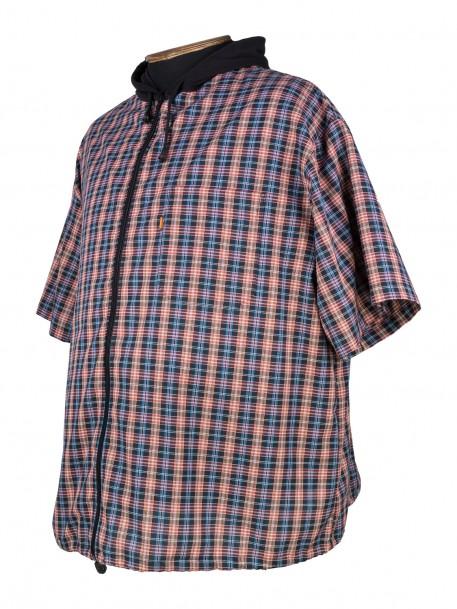 239a8d7d3c6 Купить Рубашка большого размера на молнии в клетку с капюшоном за ...
