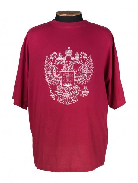 99da244ae5bb3 Купить Бордовая футболка большого размера с принтом герб россии за ...