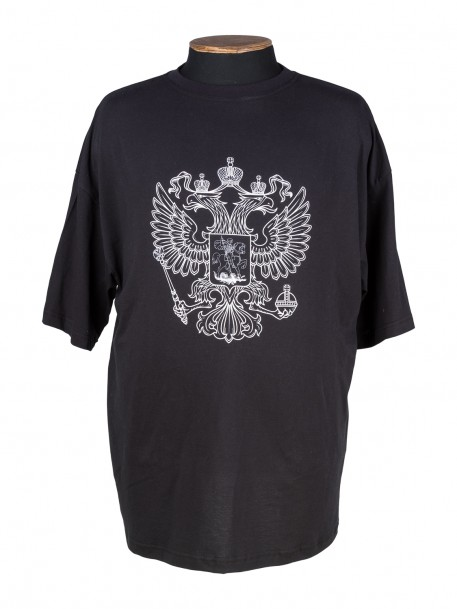 a51a5a759c0b Чёрная футболка с принтом Герб России