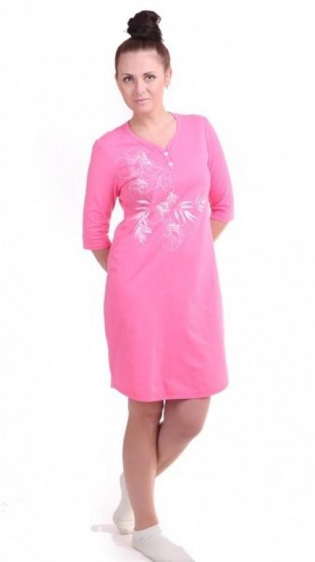 d8358d0ed3b5597 Купить Сорочка большого размера женская ночная розового цвета за 990 ...